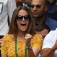 Kim Murray (Sears), la femme d'Andy Murray lors de la finale hommes Andy Murray contre Milos Raonic du tournoi de tennis de Wimbledon à Londres, le 10 juillet 2016.