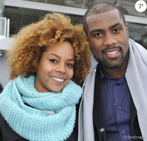 Teddy Riner et sa compagne Luthna à l'hippodrome de Paris-Vincennes, le dimanche 20 janvier 2013