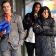 """Ed Westwick et Jessica Szohr sur le tournage de """"Gossip Girl"""", à New York, le 17 mars 2009."""