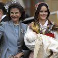 la reine Silvia, La princesse Sofia et le prince Gabriel - Baptême du prince Gabriel de Suède à la chapelle du palais Drottningholm à Stockholm le 1er décembre 2017.  Prince Gabriel's christening, Drottningholm Palace Chapel, 2017-12-0101/12/2017 - Stockholm