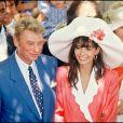 Johnny Hallyday et Adeline Blondieau lors de leur mariage à Ramatuelle en juillet 1990.