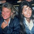 Johnny Hallyday et Adeline Blondieauà Paris le 1er mars 1994.