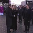 Emmanuel Macron et Laura Smet - Obsèques de Johnny Hallyday en l'église de la Madeleine à Paris. Le 9 décembre 2017.