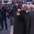 Laeticia Hallyday, Emmanuel Macron - Obsèques de Johnny Hallyday en l'église de la Madeleine à Paris. Le 9 décembre 2017.