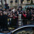 Laeticia Hallyday - Arrivée du convoi funéraire de la dépouille du chanteur Johnny Hallyday et des personnalités sur la place de La Madeleine à Paris. Le 9 décembre 2017 © CVS / Bestimage