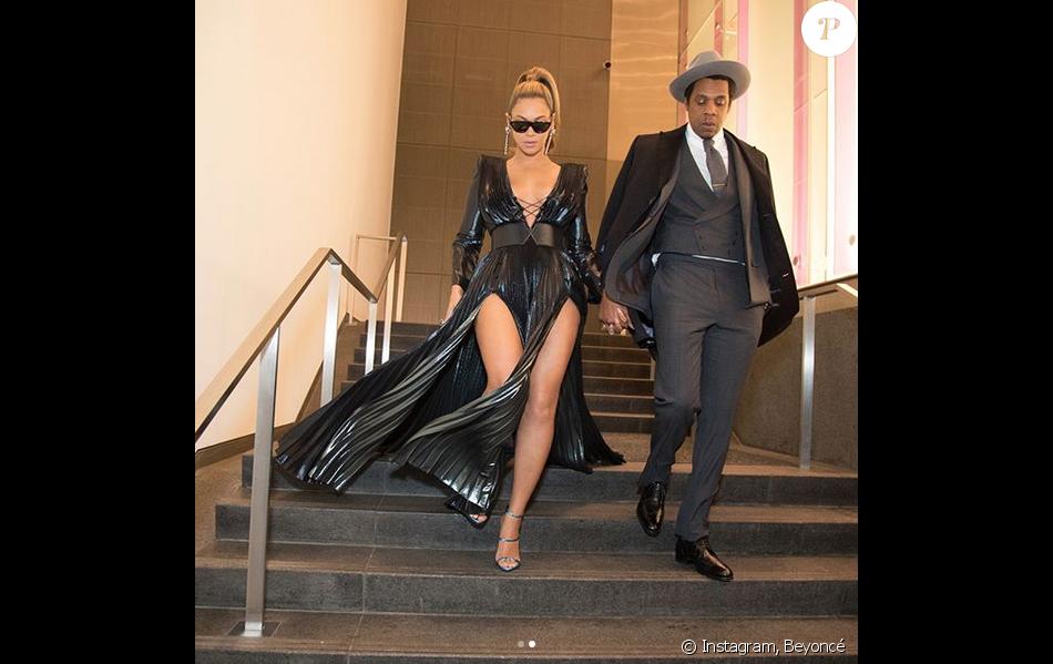 Beyoncé et JAY-Z au brunch pré-Grammy du label Roc Nation. New York, le 27 janvier 2018.