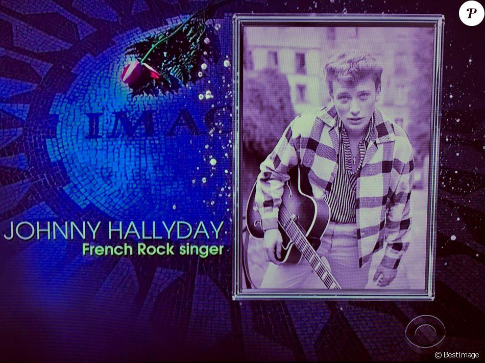 Johnny Hallyday est honoré lors de la 60ème soirée annuelle des Grammy Awards au Madison Square Garden à New York, le 28 janvier 2018.