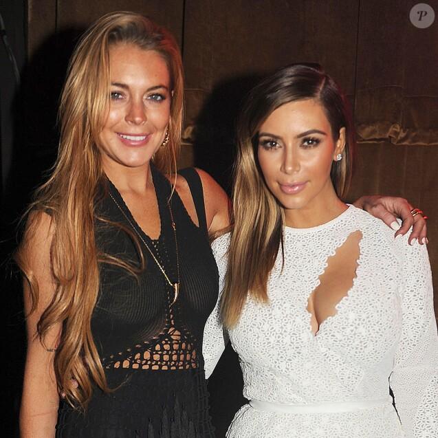 Lindsay Lohan et Kim Kardashian au festival d'art contemporain Art Basel à Miami le 4 décembre 2013