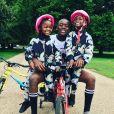 Estere et Stella avec leur grand frère David sur Instagram, le 10 août 2017.