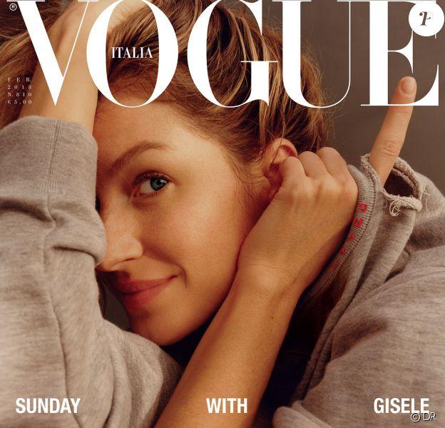 Gisele Bündchen en couverture du magazine Vogue Italia. Photo par Jamie Hawkesworth.