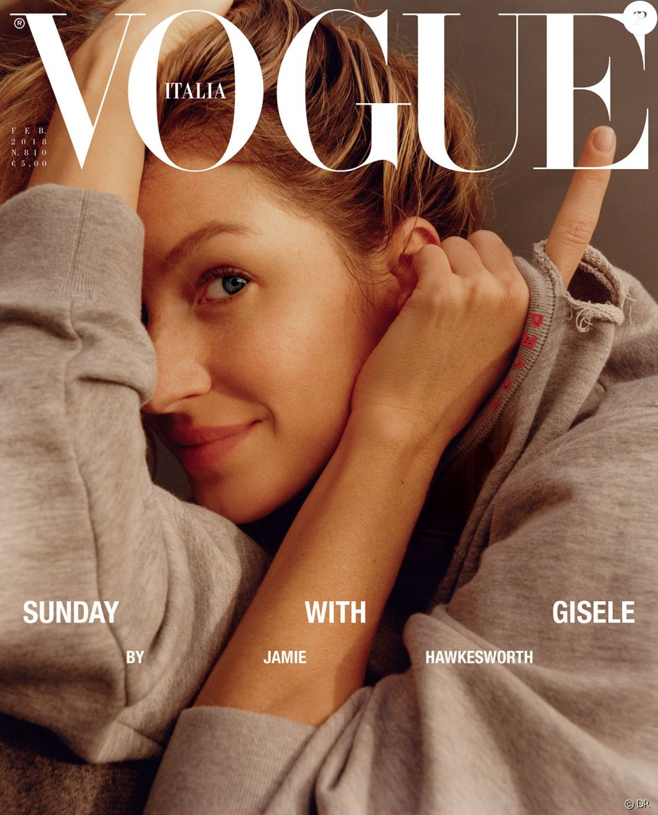 Gisele Bündchen en couverture du magazine Vogue Italia. Photo par Jamie Hawkesworth.