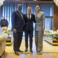 Le président Macky Sall, Emmanuel Macron et Rihanna à Dakar le 2 février 2018.ABACAPRESS.COM02/02/2018 - PARIS