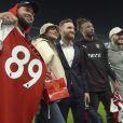 Rorrey Fenty, Rihanna, Shkrodran Mustafi et Sead Kolašinac - Match Arsenal vs Everton à l'Emirates Stadium à Londres le 3 février 2018.