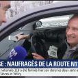 Yves Lecoq, bloqué une nuit dans sa voiture, témoigne sur BFMTV le 7 février 2018.