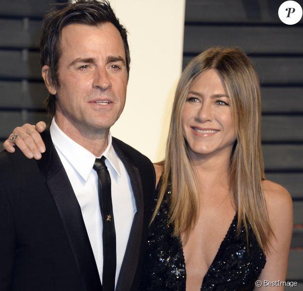 Justin Theroux et sa femme Jennifer Aniston lors de la soirée Vanity Fair Oscar 2017 au Wallis Annenberg à Beverly Hills, le 26 février 2017.