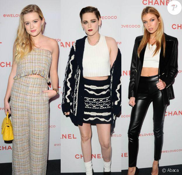 """Ava Phillippe, Kristen Stewart et Stella Maxwell assistent à la soirée """"Chanel Beauty House"""" à Los Angeles, le 28 février 2018."""