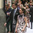 La princesse Alexandra de Hanovre et son compagnon Ben-Sylvester Strautmann au mariage religieux du prince Christian de Hanovre et d'Alessandra de Osma le 16 mars 2018 à Lima au Pérou.