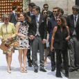 La princesse Alexandra de Hanovre et son compagnon Ben-Sylvester Strautmann, Pierre Casiraghi et le prince Ernst August de Hanovre au mariage religieux du prince Christian de Hanovre et d'Alessandra de Osma le 16 mars 2018 à Lima au Pérou.