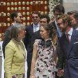La princesse Alexandra de Hanovre et son compagnon Ben-Sylvester Strautmann derrière son demi-frère Pierre Casiraghi au mariage religieux du prince Christian de Hanovre et d'Alessandra de Osma le 16 mars 2018 à Lima au Pérou.