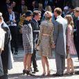 Pierre Casiraghi, Beatrice Borromeo, Charlotte Casiraghi, la princesse Alexandra de Hanovre et son compagnon Ben-Sylvester Strautmann ensemble le 8 juillet 2017 à Hanovre lors du mariage religieux du prince Ernst August Jr de Hanovre et d'Ekaterina Malysheva.