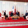 Le roi Mohammed VI et la princesse Lalla Salma du Maroc recevant, le 14 juin 2017 à Rabat, Emmanuel et Brigitte Macron, en présence de leur fils le prince héritier Moulay El Hassan et du prince Moulay Rachid et son épouse Lalla Oum Kelthoum. © Sébastien Valiela/Bestimage