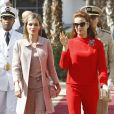 La princesse Lalla Salma du Maroc avec la reine Letizia d'Espagne le 15 juillet 2014 à Rabat.