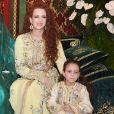 La princesse Lalla Salma du Maroc et sa fille Lalla Khadija lors du mariage du prince Moulay Rachid et de Lalla Oum Keltoum en novembre 2014 à Rabat.