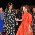 Michelle Obama et la princesse Lalla Salma du Maroc le 27 juin 2016 à l'aéroport de Marrakech.
