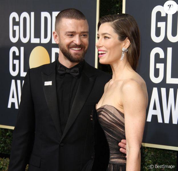 Jessica Biel et son mari Justin Timberlake sur le tapis rouge de la 75e cérémonie des Golden Globe Awards au Beverly Hilton à Los Angeles, le 7 janvier 2018.