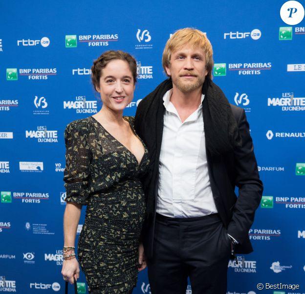 Jérémie Renier et sa nouvelle compagne enceinte lors de la 8e Cérémonie des Magritte du Cinéma, qui récompense le septième art belge, au Square, à Bruxelles, 3 février 2018.