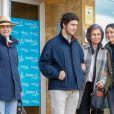 L'infante Elena d'Espagne et ses enfants Felipe et Victoria de Marichalar avec la reine Sofia lors de leur visite au roi Juan Carlos Ier d'Espagne le 8 avril 2018 à l'hôpital La Moraleja dans le nord de Madrid. L'ancien souverain y a été hospitalisé pour le remplacement de la prothèse de son genou droit.