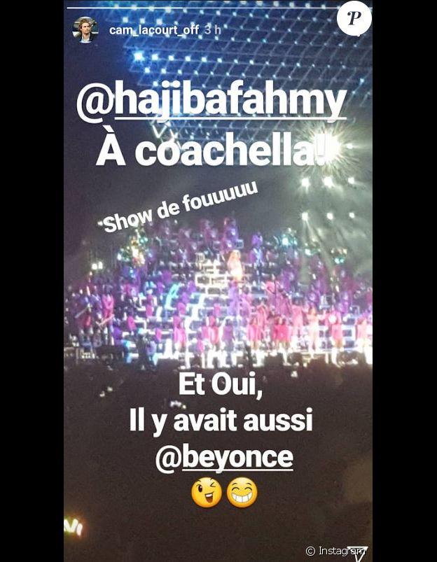 Camille Lacourt au festival de Coachella, Instagram, le 21 avril 2018.