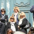 Chantal Goya et des proches - Obsèques de la mère de Chantal Goya, Colette Dartiguenave De Guerre, en l'église Saint-Roch à Paris. Le 26 avril 2018.