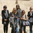 Clarisse Debout, fille de Chantal Goya et J.J.Debout, le petit-fils de C.Goya, Sanjay, et des proches - Obsèques de la mère de Chantal Goya, Colette Dartiguenave De Guerre, en l'église Saint-Roch à Paris. Le 26 avril 2018.