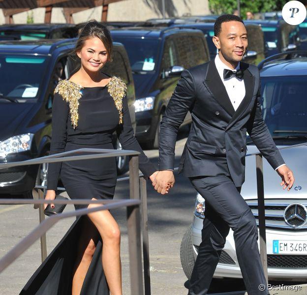 Chrissy Teigen, John Legend au mariage de Kim Kardashian et Kanye West à Florence, le 24 mai 2014.