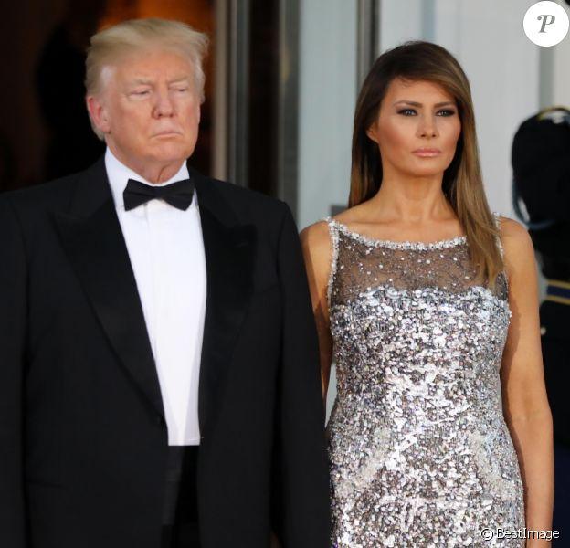 Le président américain Donald Trump et sa femme la Première Dame Melania Trump - Dîner en l'honneur du président de la République française et sa femme la première dame à la Maison Blanche à Washington, le 24 avril 2018. © Dominique Jacovides/Bestimage