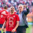 Jupp Heynckes et Franck Ribery - Le Bayern Munich a décroché son sixième titre d'affilée en Bundesliga, et cela à cinq journées de la fin du championnat Allemand à Munich le 7 avril 2018.