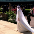 Meghan Markle est apparue dans sa robe signée Clare Waight Keller pour Givenchy le 19 mai 2018 à Windsor pour son mariage avec le prince Harry.
