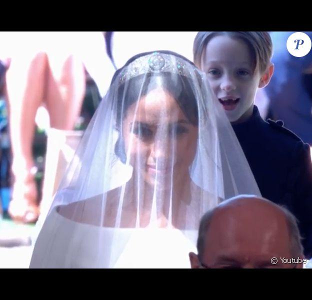Meghan Markle est apparue dans sa robe de mariée signée Clare Waight Keller pour Givenchy le 19 mai 2018 à Windsor pour son mariage avec le prince Harry.