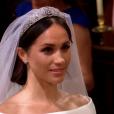 Mariage du prince Harry et de Meghan Markle le 19 mai 2018 en la chapelle St George à Windsor. Meghan porte une robe de mariée confectionnée parClare Waight Keller pour Givenchy, Harry porte son uniforme de capitaine des Blues and Royals.