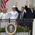 Le président américain Donald Trump, sa femme la Première Dame Melania Trump, le président de la République française Emmanuel Macron et sa femme la Première Dame Brigitte Macron (Trogneux) - Le couple présidentiel américain accueille le couple présidentiel français à la Maison Blanche à Washington, The District, Etats-Unis, le 24 avril 2018.
