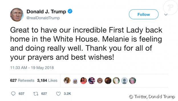 Le tweet malheureux de Donald Trump pour le retour de Melania à la Maison Blanche, samedi 19 mai 2018.