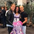 """Clémence avec Dylan et Yassin lors de sa victoire dans """"Koh-Lanta : Le Combat des héros"""" au Grand Rex à Paris, le 25 mai 2018."""