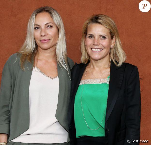 Laura Tenoudji et Charlotte Bouteloup au village lors des internationaux de France de tennis de Roland Garros, Jour 3, à Paris le 29 mai 2018. © Dominique Jacovides / Cyril Moreau / Bestimage