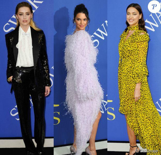 Amber Heard, Kendall Jenner et Irina Shayk assistent aux CFDA Awards 2018 au Brooklyn Museum à New York, le 4 juin 2018.