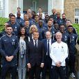 Emmanuel Macron et son épouse ont rencontré l'équipe de France de football ce 5 juin 2018, à Clairefontaine.