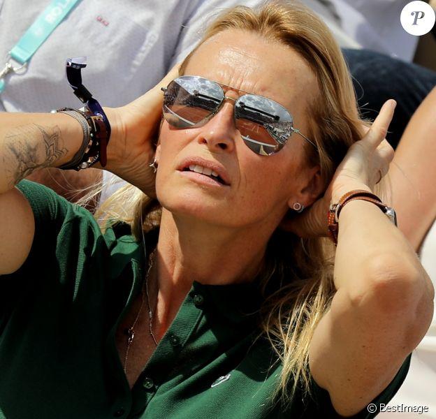 Estelle Lefébure dans les tribunes des internationaux de Roland Garros - jour 5 - à Paris, France, le 31 mai 2018. © Cyril Moreau - Dominique Jacovides/Bestimage