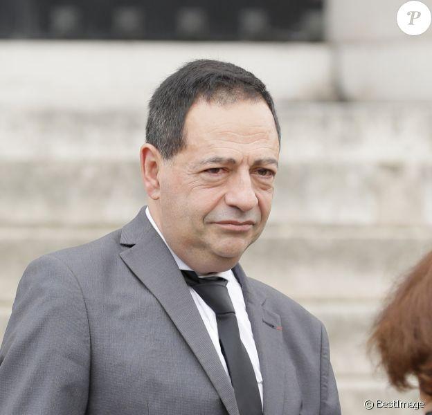 Jean-Luc Romero - Obsèques de Christophe Michel (mari de JL Romero) au crématorium du cimetière du Père Lachaise à Paris le 6 juin 2018.