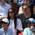Jean Roch et sa femme Anais - People dans les tribunes des Internationaux de France de Tennis de Roland Garros à Paris. Le 8 juin 2018 © Cyril Moreau / Bestimage
