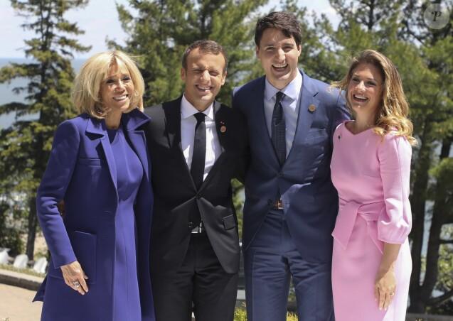 Le président Emmanuel Macron, sa femme Brigitte - Le premier ministre Justin Trudeau et sa femme accueillent les membres du G7 à La Malbaie le 8 juin 2018 © Ludovic Marin / Pool / Bestimage